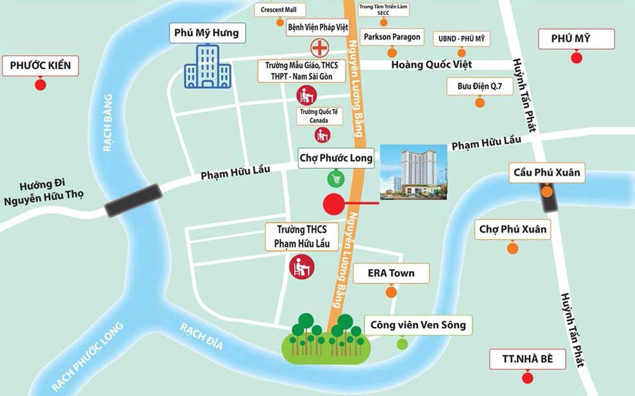 Vị trí dự án căn hộ Viva Plaza Quận 7 tại Nguyễn Lương Bằng
