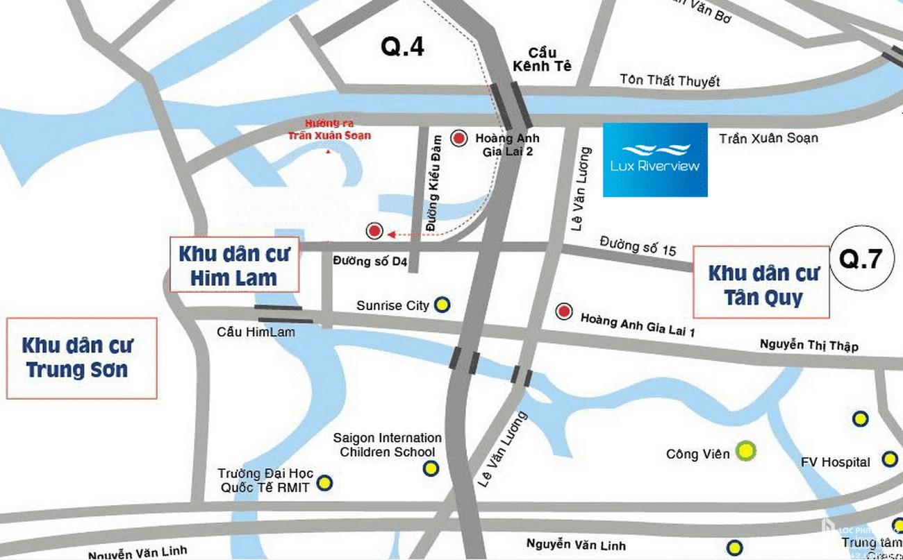Vị trí dự án căn hộ Lux RiverView tại đường Trần Xuân Soạn