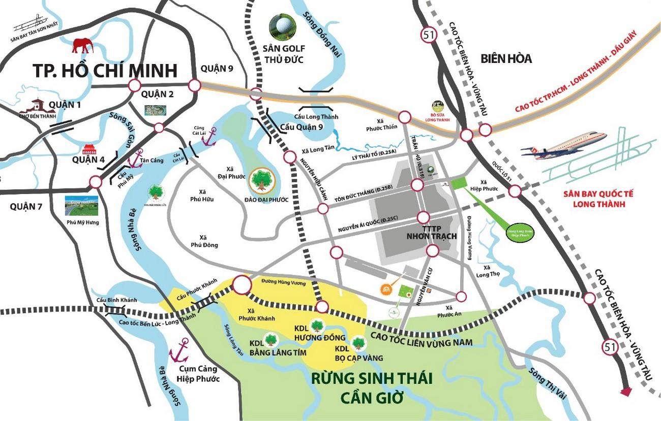 Vị trí địa chỉ dự án nhà phố đất nền Gem Sky World Long Thành Đường Quốc Lộ 51 chủ đầu tư Đất Xanh