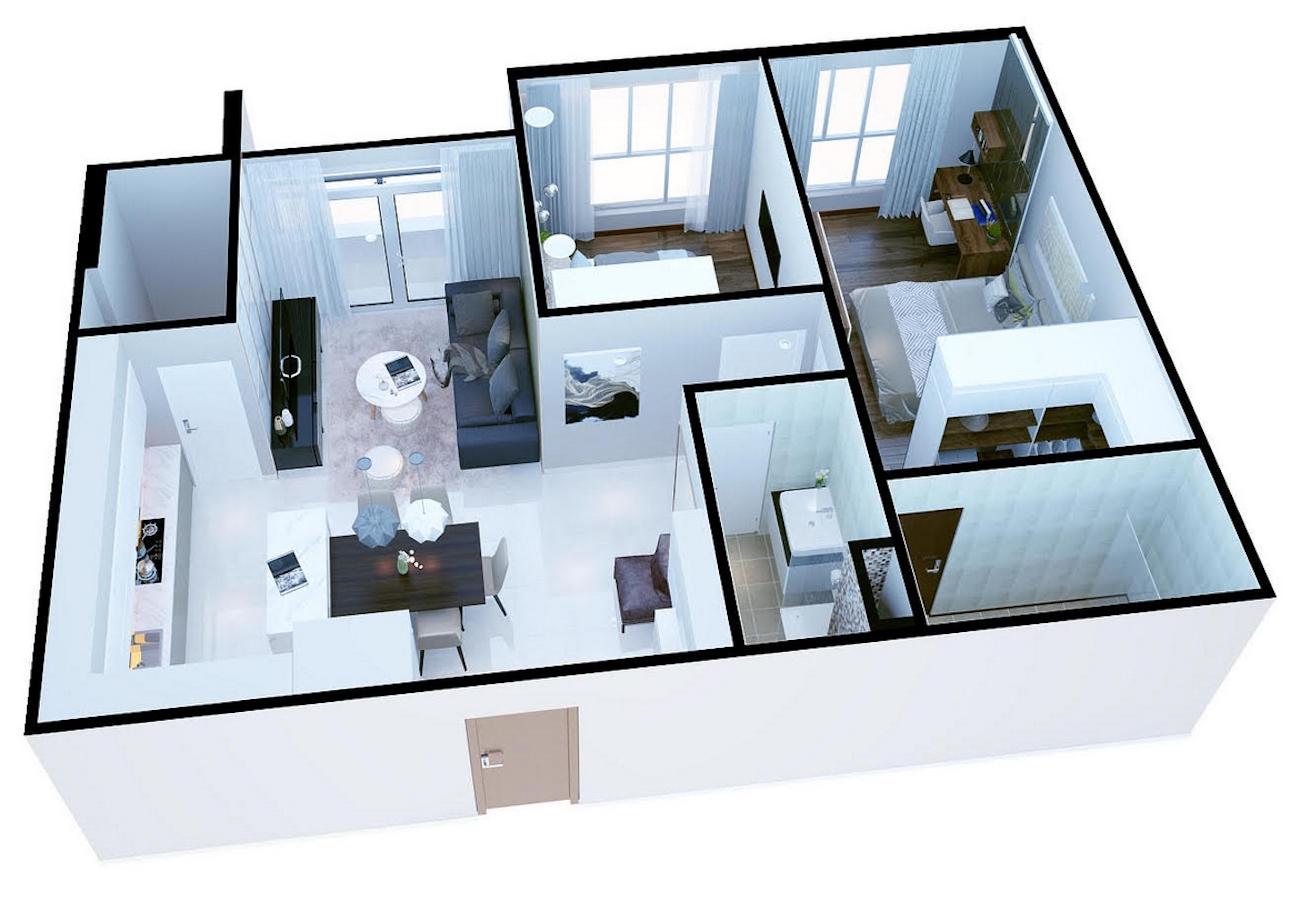 Thiết kế dự án căn hộ 2 Phòng ngủ chung cư Thủ Thiêm Dragon Quận 2 Đường Quách Giai chủ đầu tư Thủ Thiêm Group