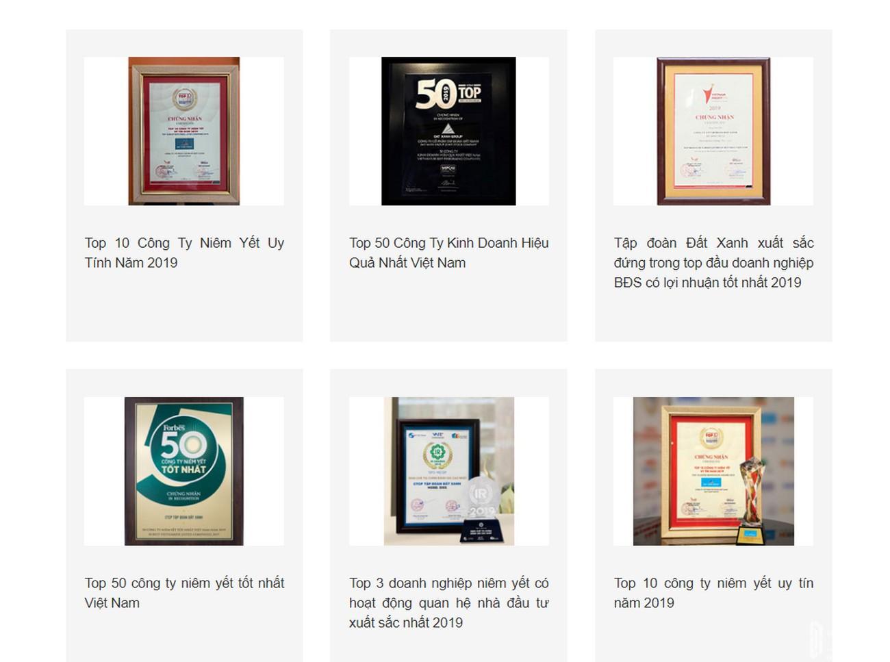 Một số giải thưởng nổi bật của Chủ đầu tư Gem Sky World - Đất Xanh Group