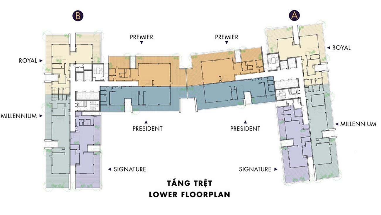 Mặt bằng dự án căn hộ chung cư Masteri Millennium Quận 4 Đường 132 Bến Vân Đồn chủ đầu tư Thảo Điền