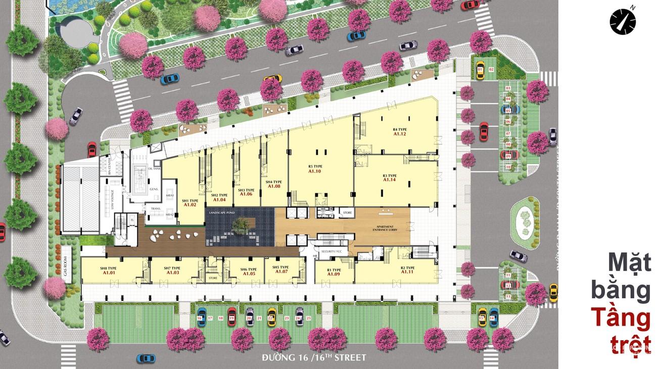 Mặt bằng dự án căn hộ chung cư The Grande Phú Mỹ Hưng Quận 7 Đường Nguyễn Lương Bằng chủ đầu tư Phú Mỹ Hưng