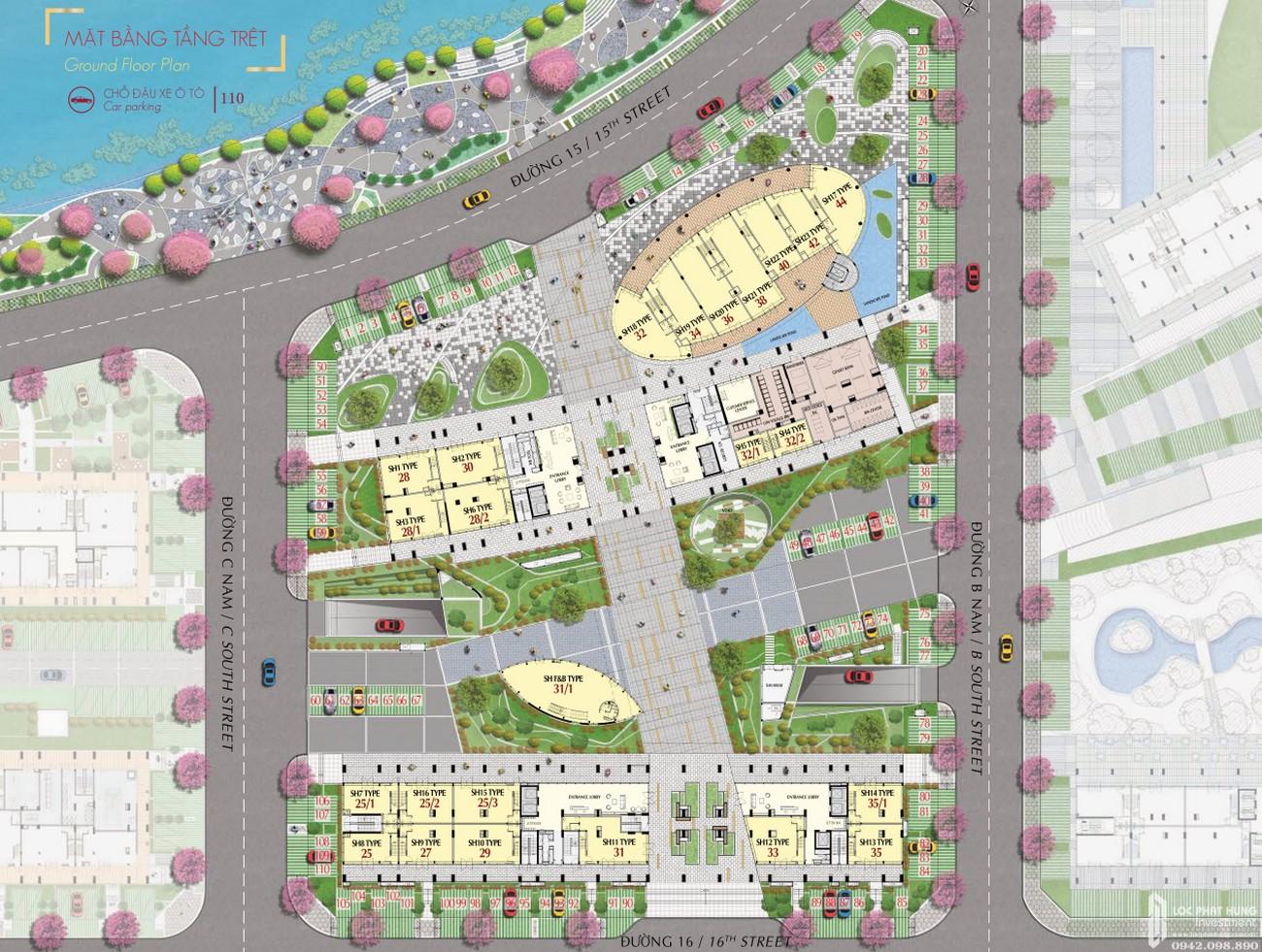 Mặt bằng dự án căn hộ chung cư The Signature PMH Quận 7 Đường Đường 16 chủ đầu tư Phú Mỹ Hưng