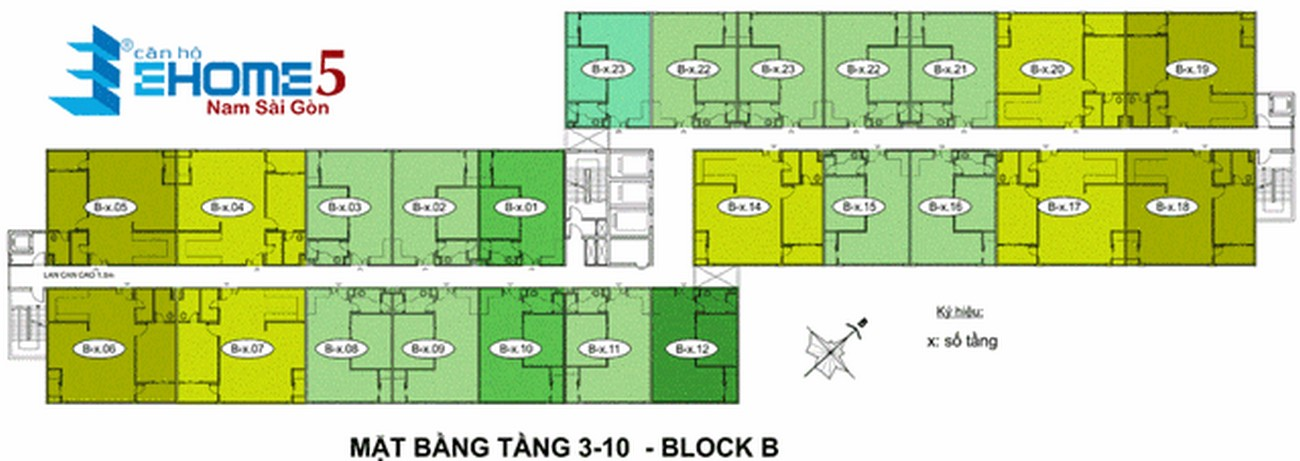 Mặt bằng dự án căn hộ Ehome 5 The Bridgeview Quận 7