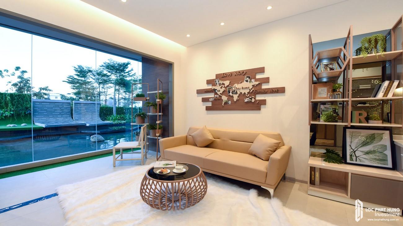Nhà mẫu loại 2 phòng ngủ dự án căn hộ chung cư The Emerald Golf View Bình Dương chủ đầu tư Lê Phong - Thiết kế phòng khách
