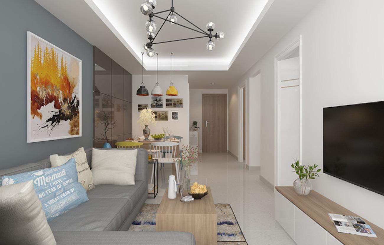 Từng đường nét thiết kế hiện đại trong phòng khách nhà mẫu Marina Park