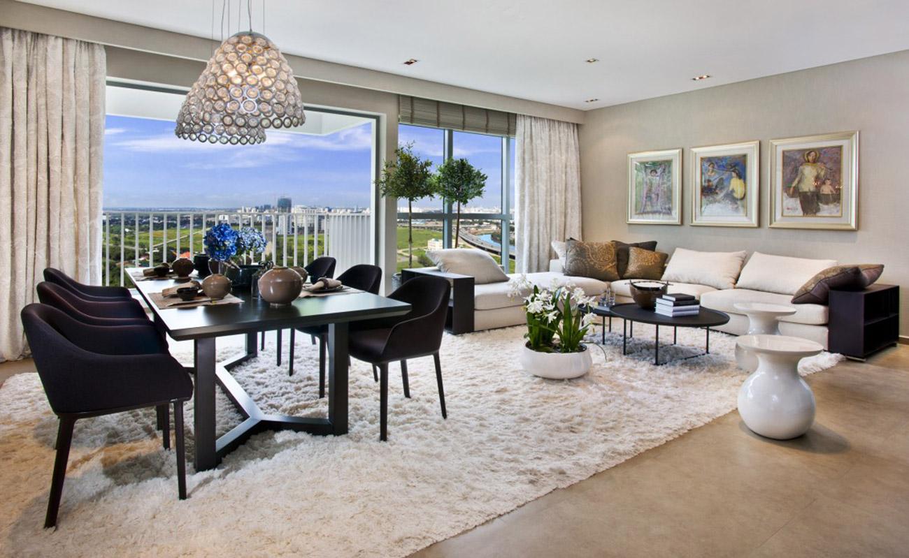 Phòng khách sang trọng căn hộ 4 Phòng ngủ Riviera Point