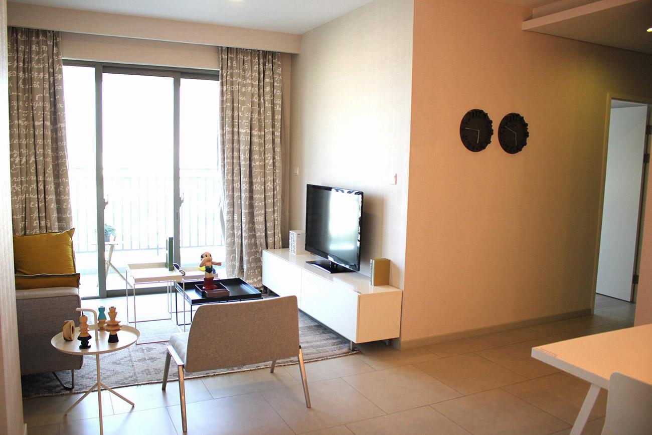 Phòng khách căn hộ 3 Phòng ngủ Riviera Point