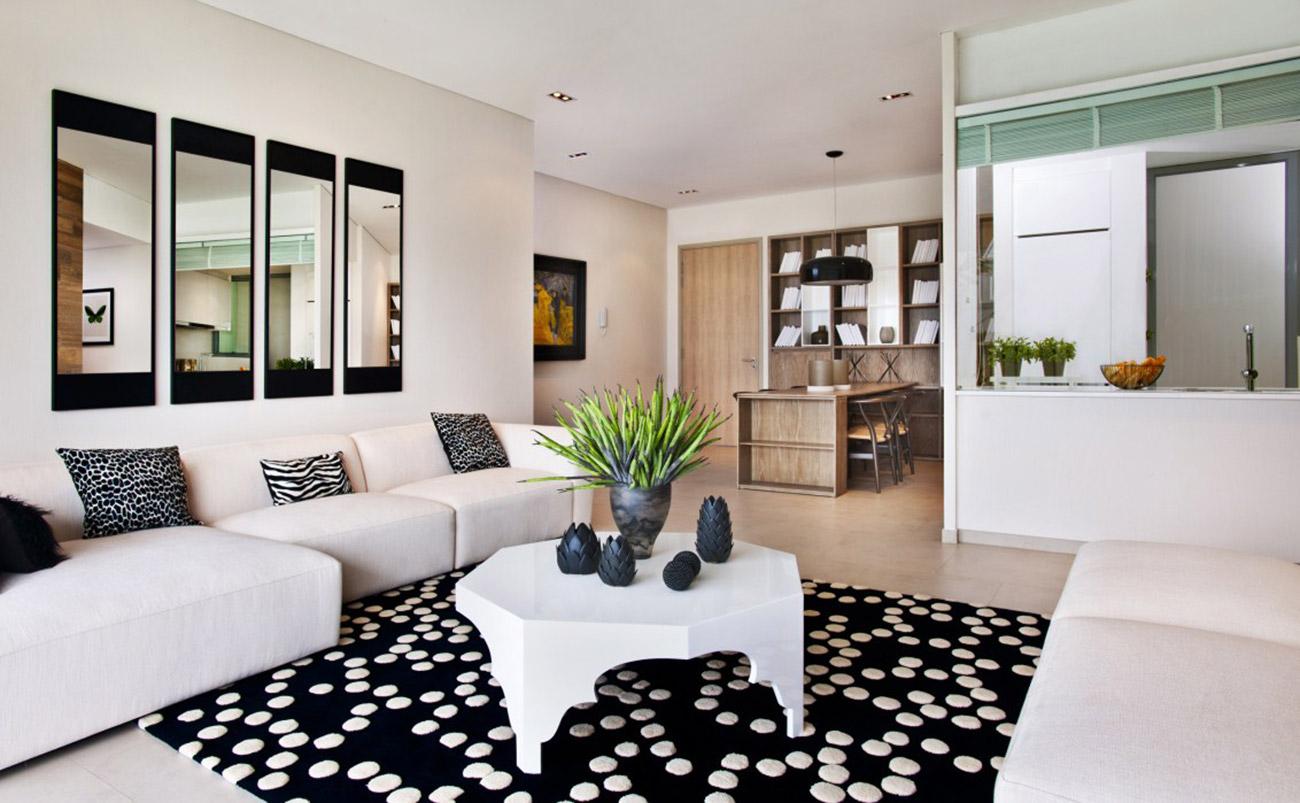 Phòng khách căn hộ 2 Phòng ngủ mẫu Riviera Point