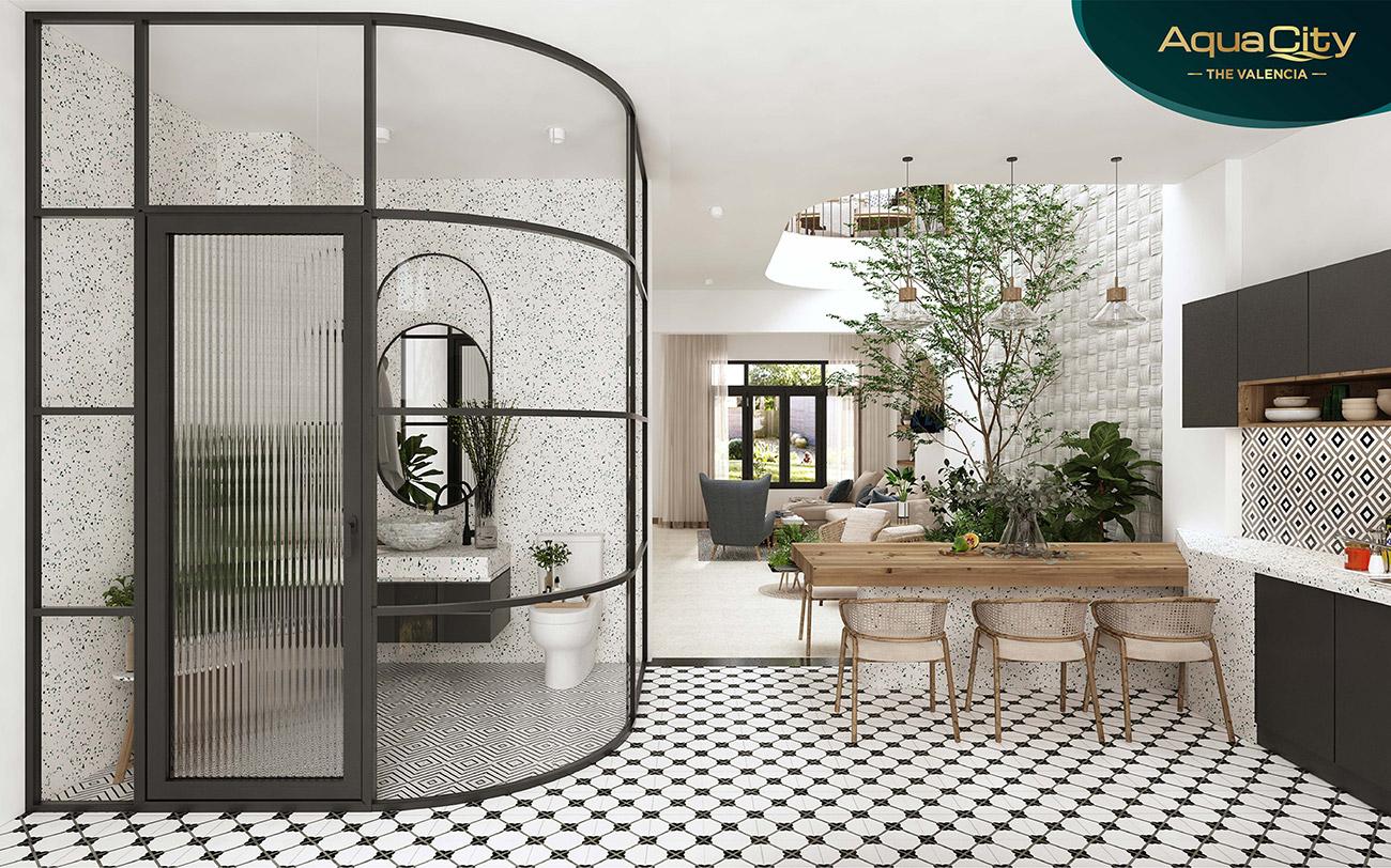 Không gian nhà mẫu với gam màu nội thất mang phong cách ấm ấp dịu dàng