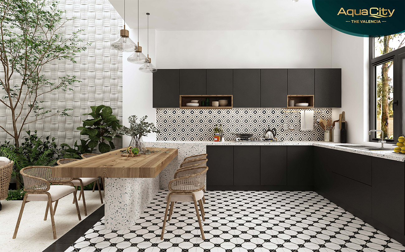Nhà bếp cao cấp và đảo bếp sang trọng tại nhà mẫu biệt thự Aqua City Đồng Nai nhà phát triển Novaland