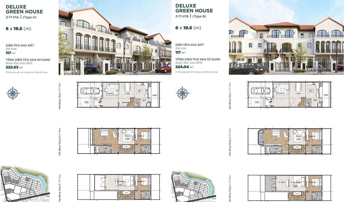 Thiết kế nhà mẫu Deluxe Green House 6x19,5 m nhà phát triển Novaland