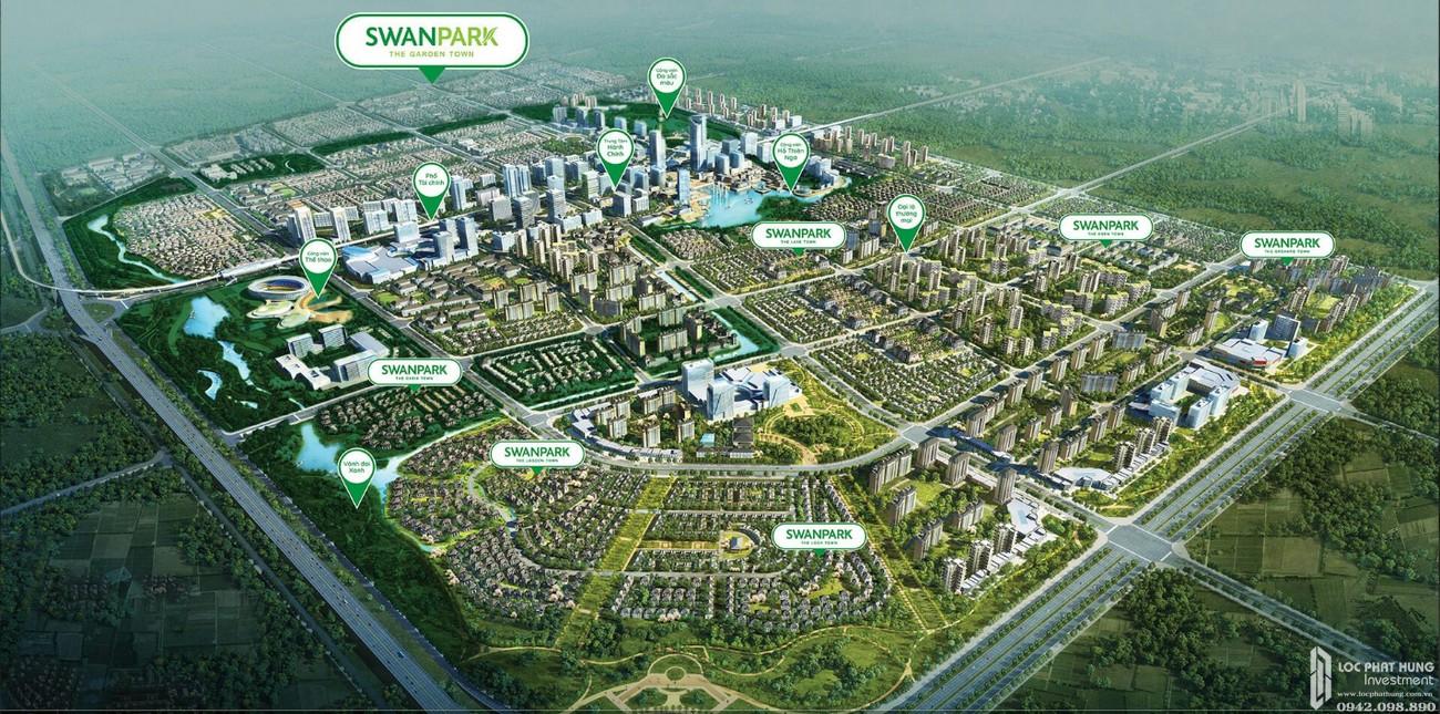 Phối cảnh tổng thể dự án Nhà Phố  Biệt Thự Swan Park Nhơn Trạch Đường Đường số 7 chủ đầu tư CFLD