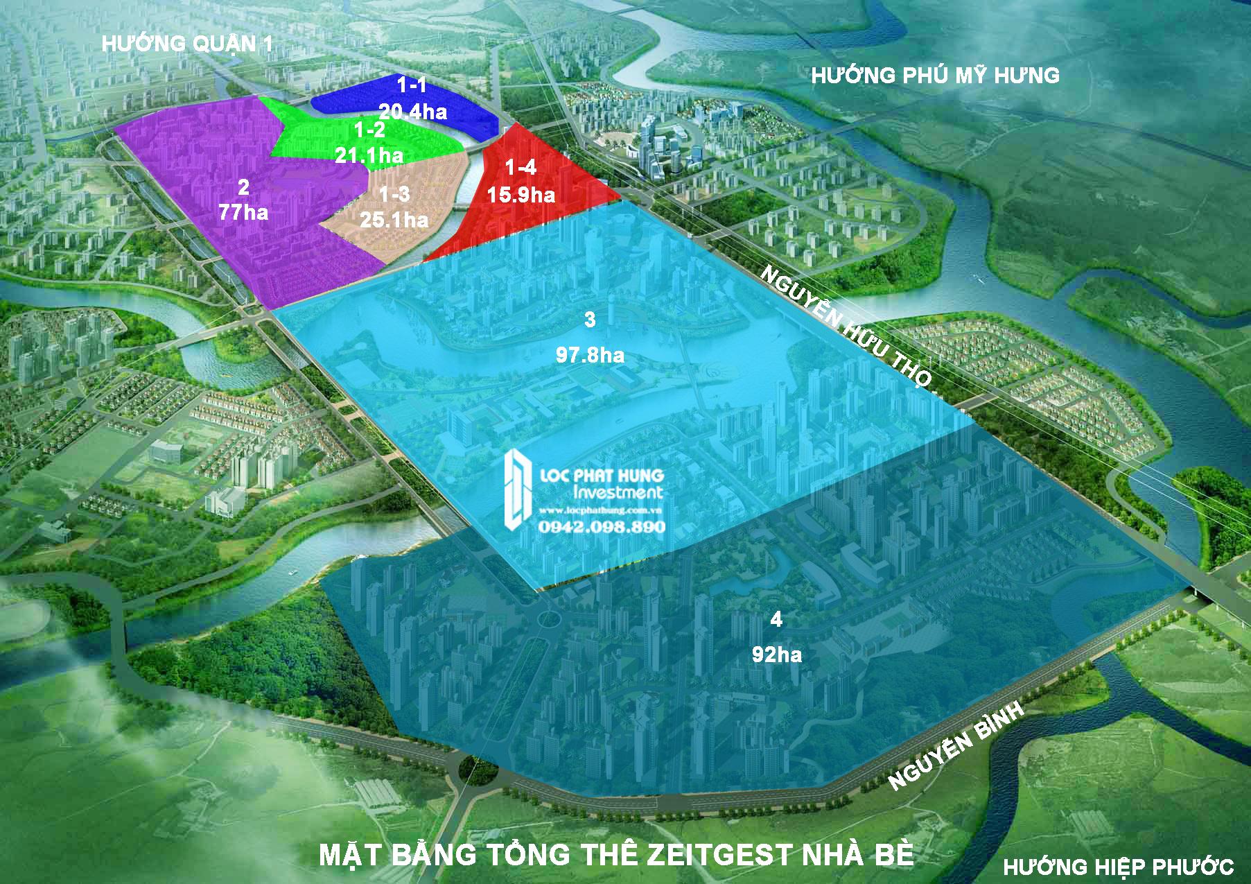 Sơ đồ tổng thể phân khu dự án Gs Nhà Bè ZeitGeist Hàn Quốc đường Nguyễn Hữu Thọ