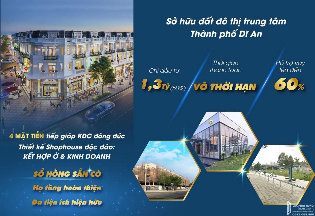 Chính sách thanh toán vô thời hạn dự án nhà phố Shophouse Icon Central Dĩ An Bình Dương chủ đầu tư Phú Hồng Thịnh