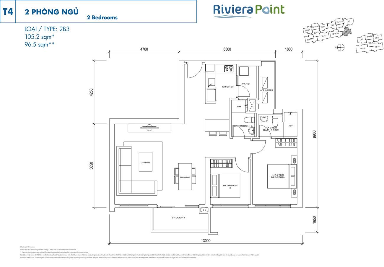 Thiết kế điển hình căn 2 Phòng ngủ Loại 2 tại Riviera Point