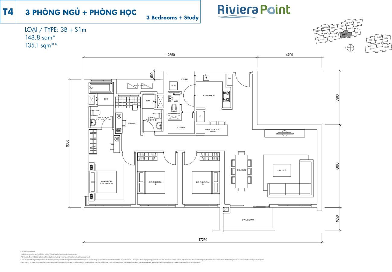 Thiết kế điển hình căn 3 Phòng Ngủ tại Riviera Point