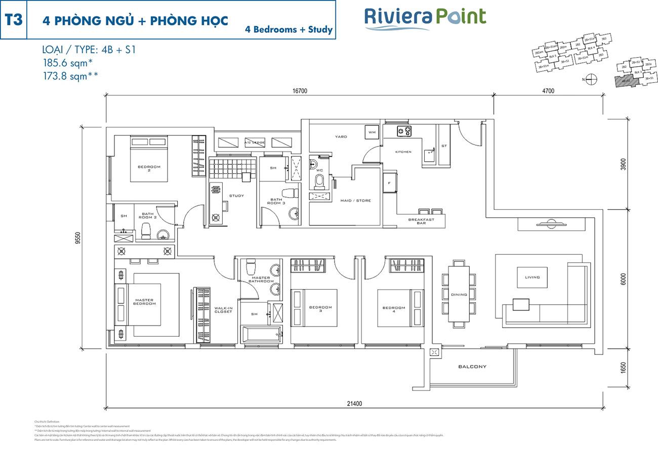 Thiết kế điển hình căn 4 Phòng Ngủ tại Riviera Point