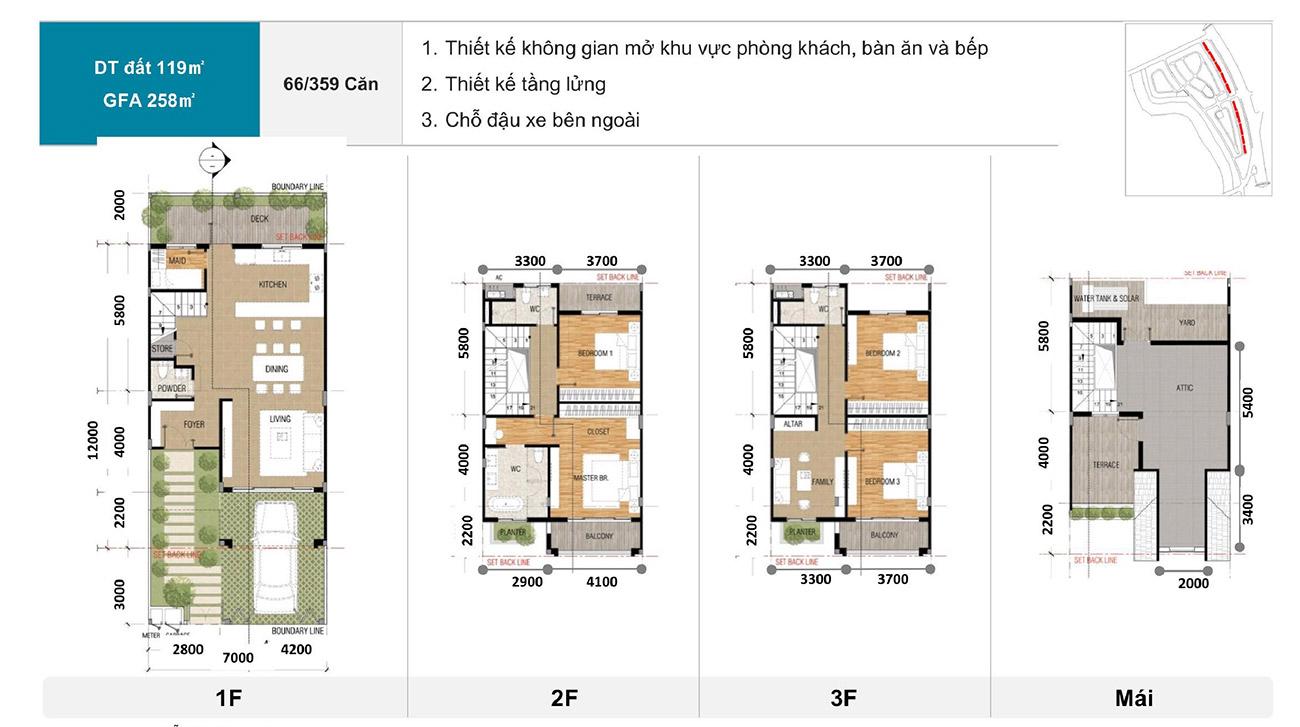 Thiết kế chi tiết các căn shopshouse zeitgeist