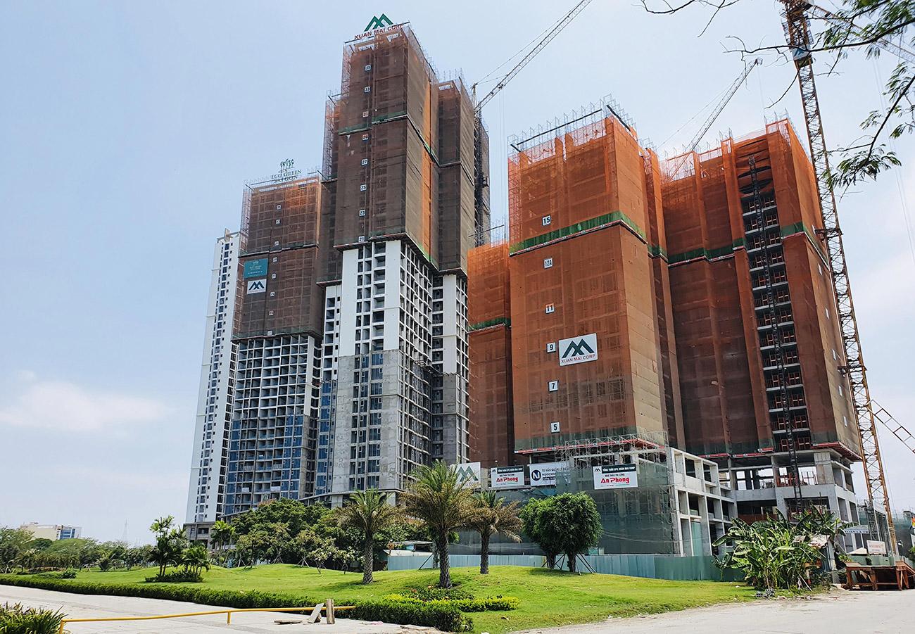 Tiến độ xây dựng toà M2 và HR2 Eco Green Saigon