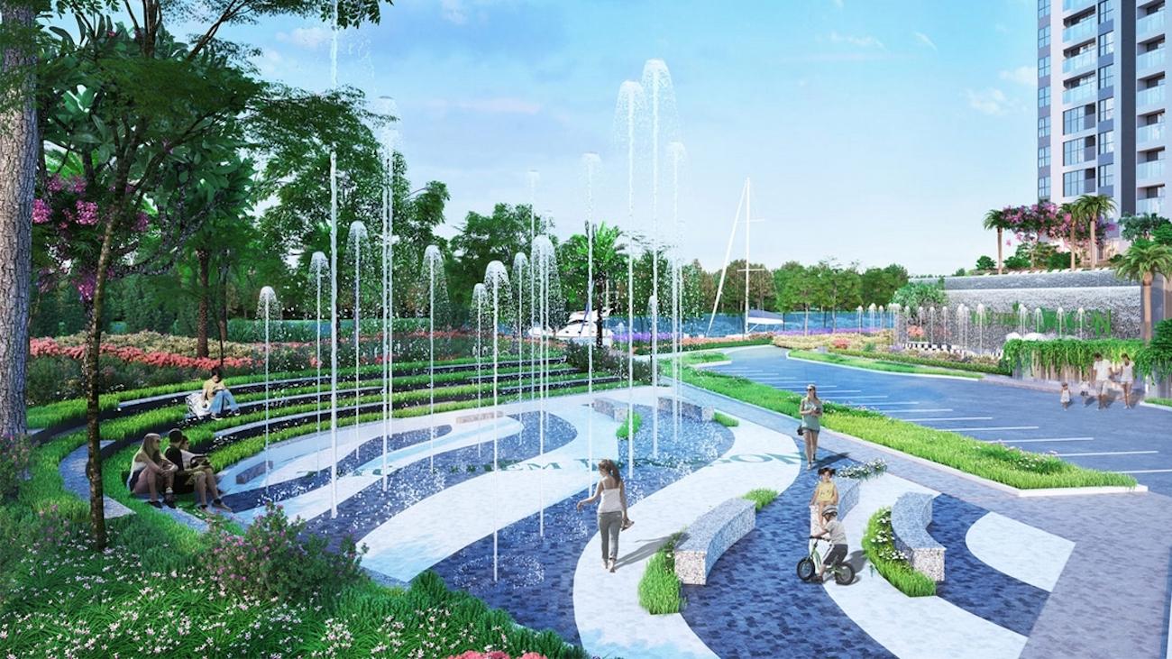 Đài phun nước bên bên công viên xanh