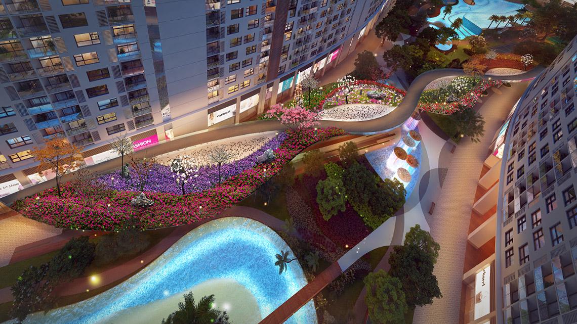 Vườn hoa tại Marina Park Đào Trí