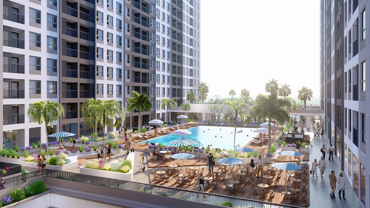 Hồ bơi hiện đại ngay dưới dự án
