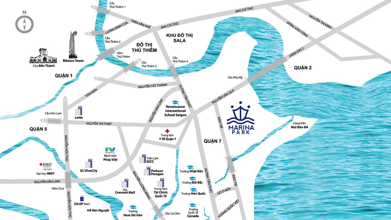 Vị trí dự án căn hộ Marina Park trên cung đường Đào Trí Quận 7