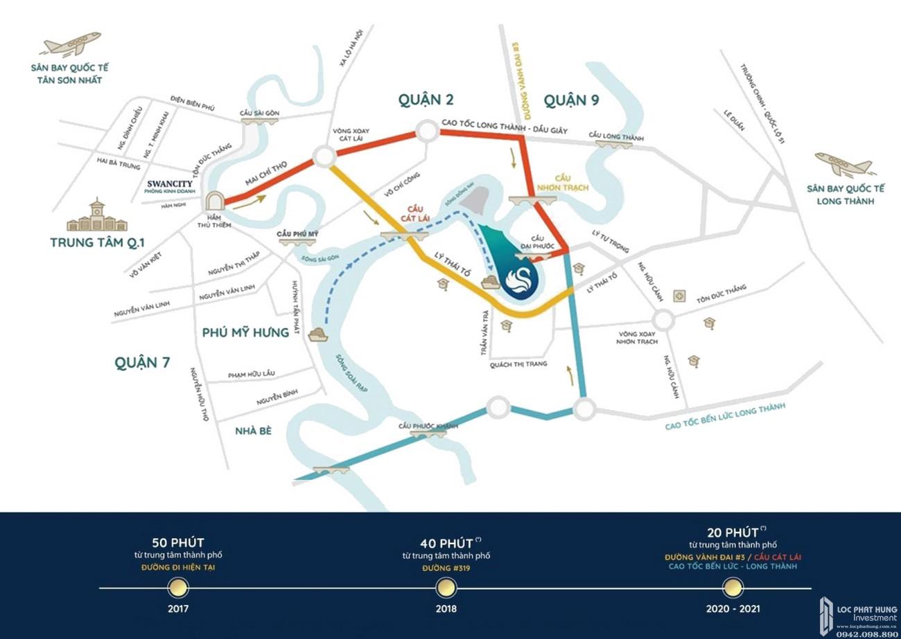 Vị trí dự án Nhà Phố biệt thự Swan Bay Nhơn Trạch Đường Đại Phước chủ đầu tư CFLD