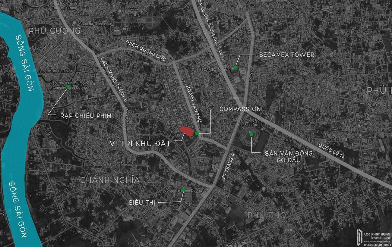 Vị trí địa chỉ dự án căn hộ chung cư C River View Bình Dương Đường Trần Phú chủ đầu tư Quốc Cường Chánh Nghĩa