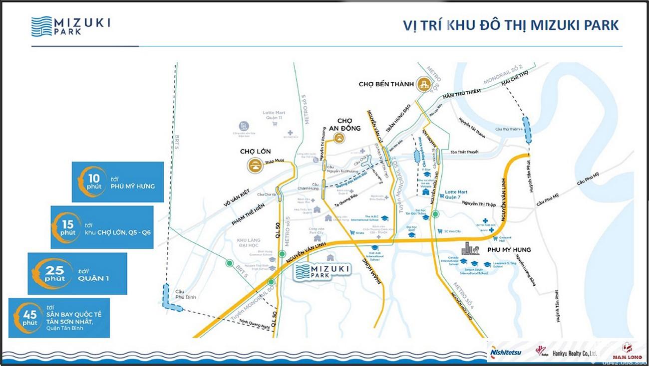 Vị trí địa chỉ dự án căn hộ chung cư Mizuki Park Bình Chánh Đường Nguyễn Văn Linh chủ đầu tư Nam Long