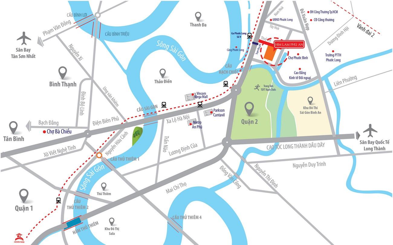 Vị trí địa chỉ dự án căn hộ chung cư Him Lam Phú An Quận 9 Đường 32 Thủy Lợi chủ đầu tư Him Lam