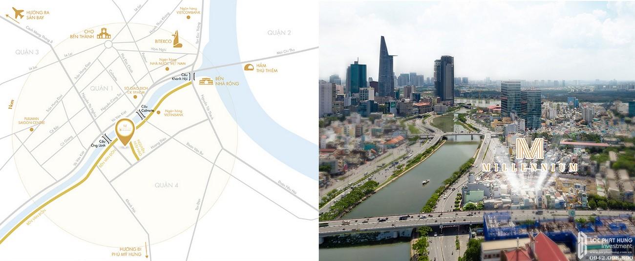 Vị trí địa chỉ dự án căn hộ chung cư Masteri Millennium Quận 4 Đường 132 Bến Vân Đồn chủ đầu tư Thảo Điền