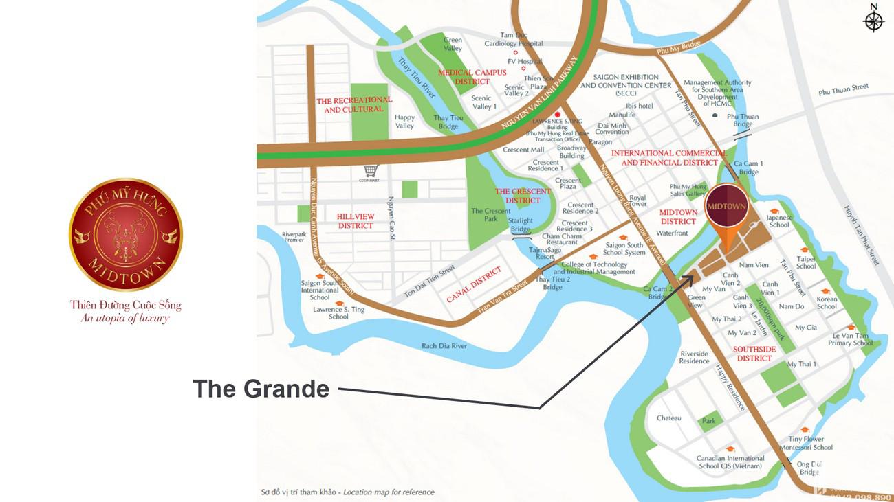 Vị trí địa chỉ dự án căn hộ chung cư The Grande Phú Mỹ Hưng Quận 7 Đường Nguyễn Lương Bằng chủ đầu tư Phú Mỹ Hưng
