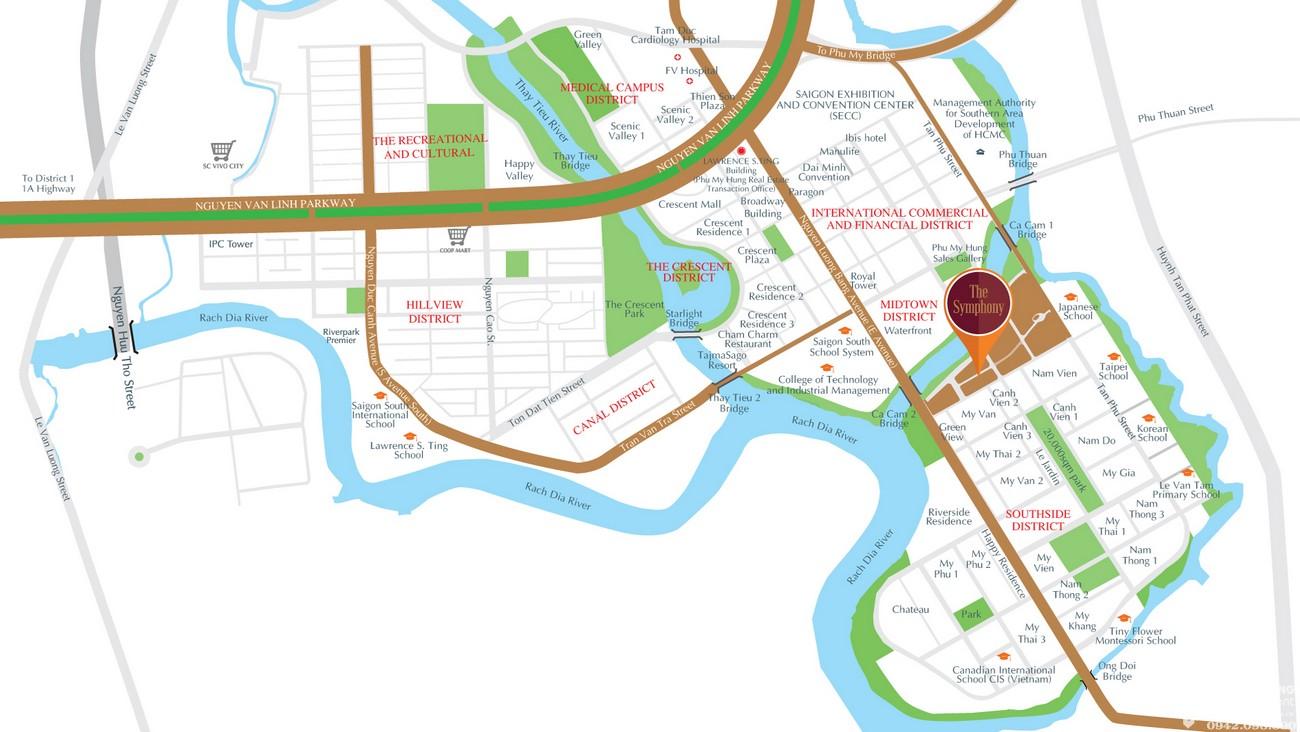 Vị trí địa chỉ dự án căn hộ chung cư The Symphony Phú Mỹ Hưng Quận 7 Đường Đường 16 chủ đầu tư Phú Mỹ Hưng
