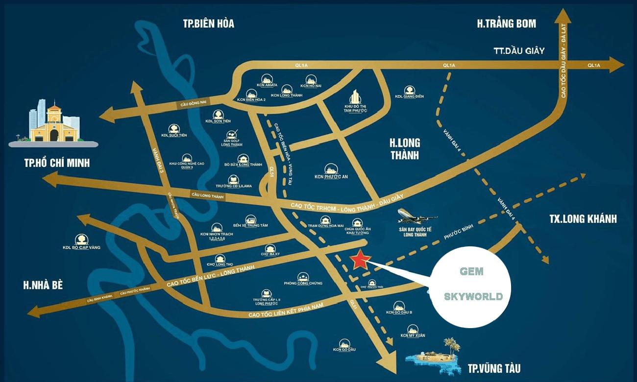 Vị trí địa chỉ chính xác dự án Gem Skyworld Đất Xanh Đồng Nai