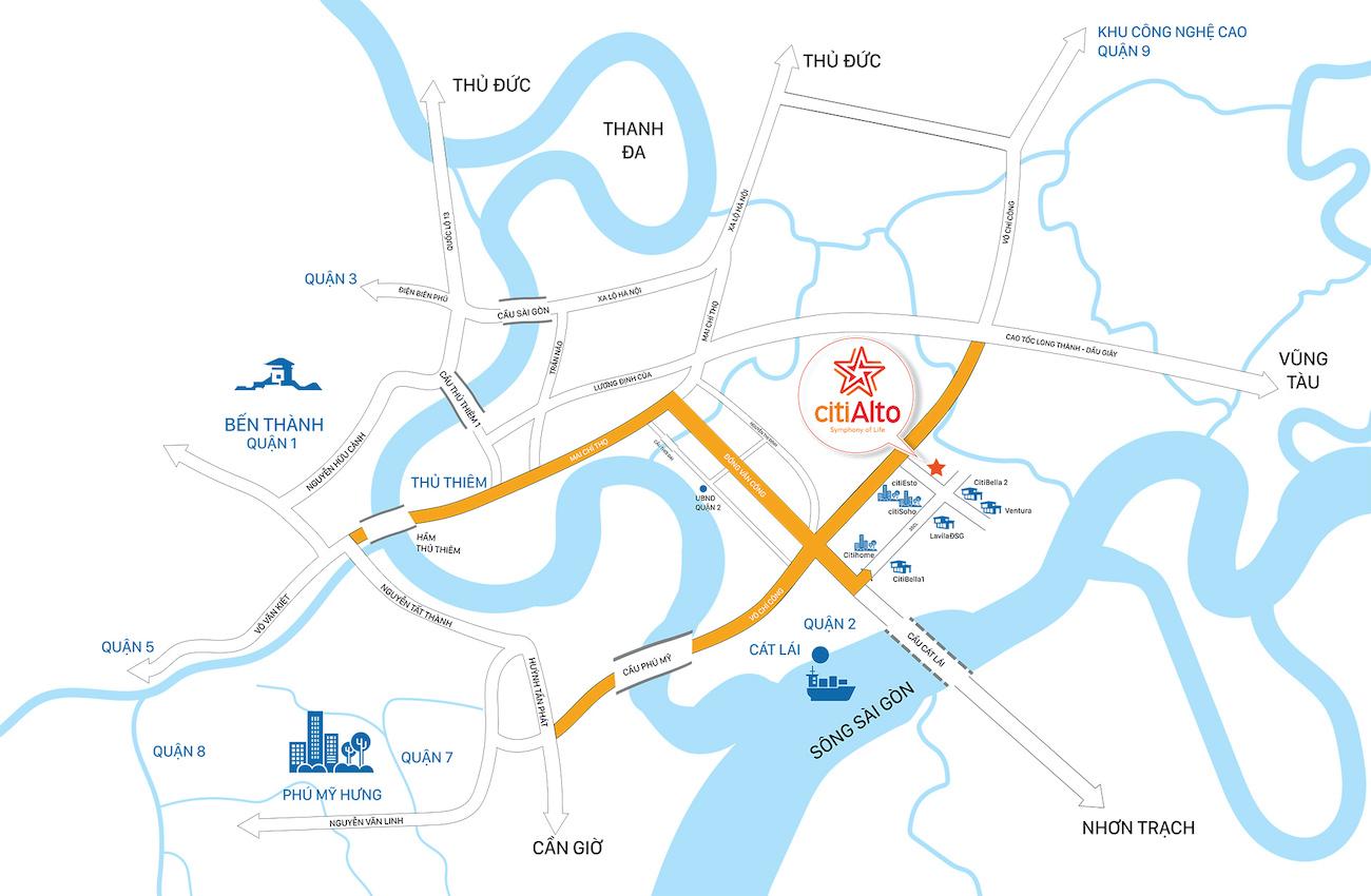Vị trí dự án căn hộ CitiAlto Quận 2