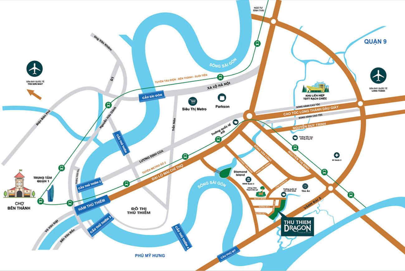 Vị trí địa chỉ dự án căn hộ chung cư Thủ Thiêm Dragon Quận 2 Đường Quách Giai chủ đầu tư Thủ Thiêm Group
