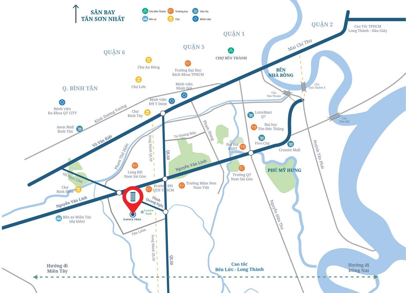 Vị trí căn hộ chung cư Lovera Vista chủ đầu tư Khang Điền tọa lạc trong quần thể các dự án căn hộ, nhà phố Lovera Park, cao cấp hiện hữu. Ở địa chỉ KDC Phong Phú 4 (Việt Phú BCCI) đường Trịnh Quang Nghị, Phong Phú, Bình Chánh -HCM.