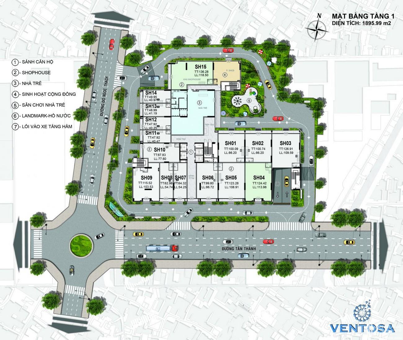 Mặt bằng dự án căn hộ chung cư Venus Luxury Quận 5 Số 66 Đường Tân Thành chủ đầu tư Tân Thành