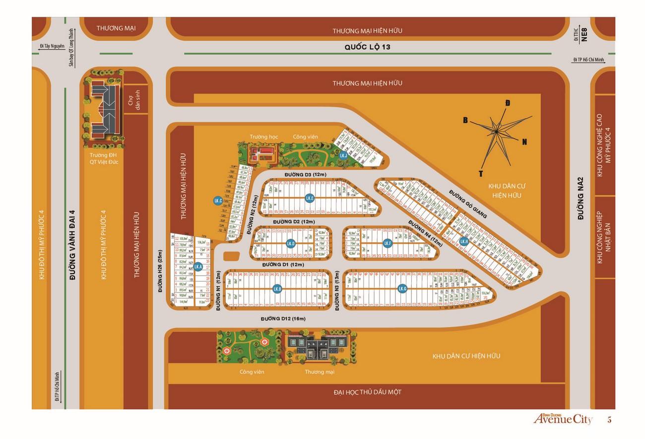 Mặt bằng dự án đất nền nhà phố Bình Dương Avenue City Bến Cát Đường Quốc lộ 13 chủ đầu tư Phú Cường