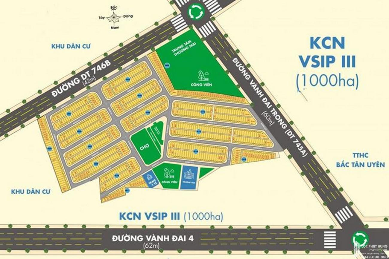 Mặt bằng dự án đất nền Victory City Bắc Tân Uyên Đường DT 746 chủ đầu tư Tân Lập