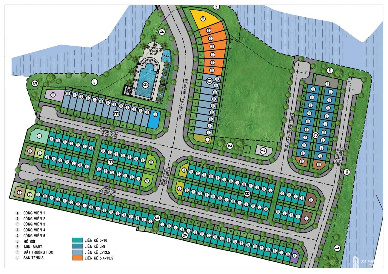 Mặt bằng dự án nhà phố Mega Ruby Quận 9 chủ đầu tư Khang Điền