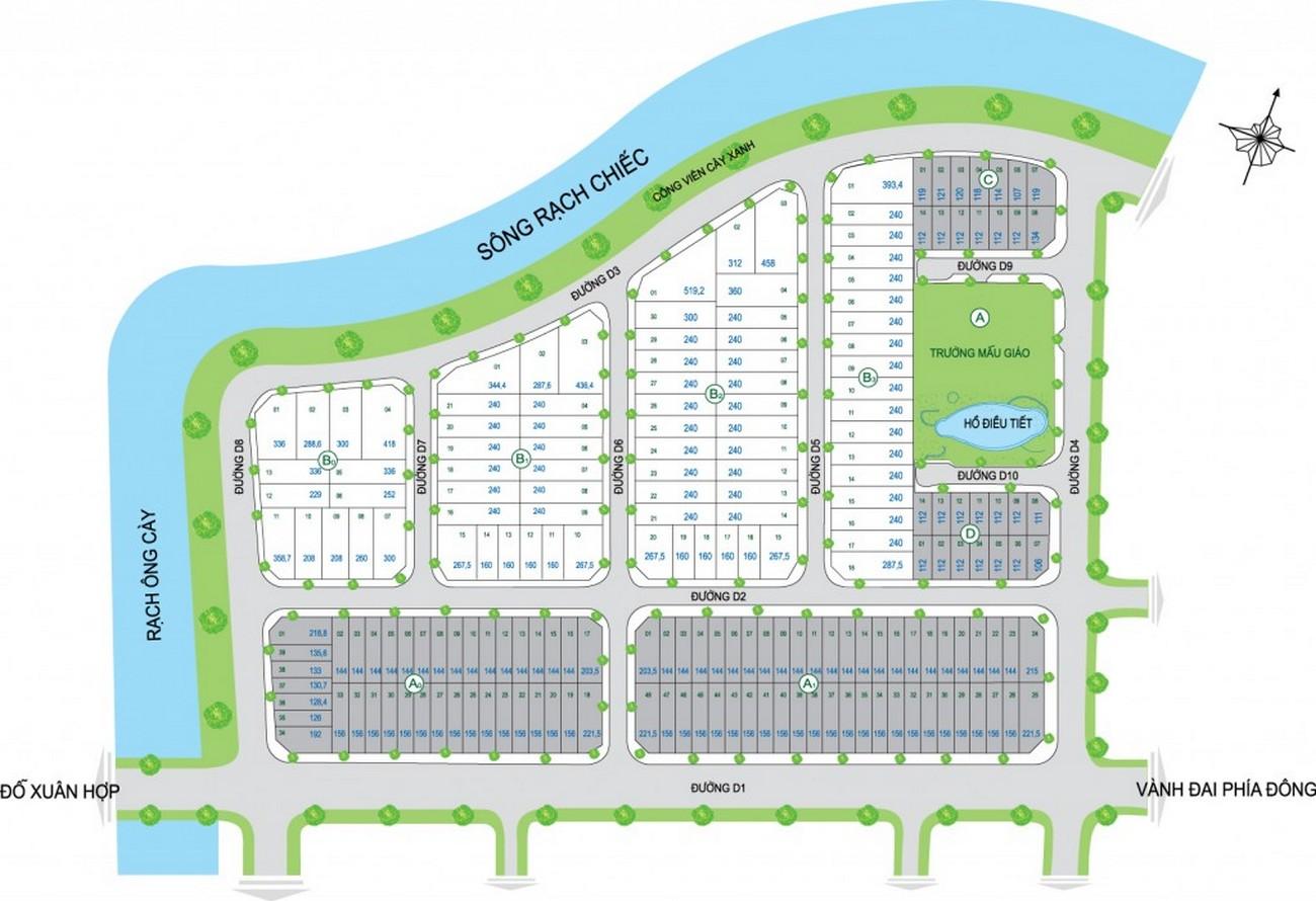 Mặt bằng dự án nhà phố River Town Quận 9 Đường Đỗ Xuân Hợp chủ đầu tư Khang Điền