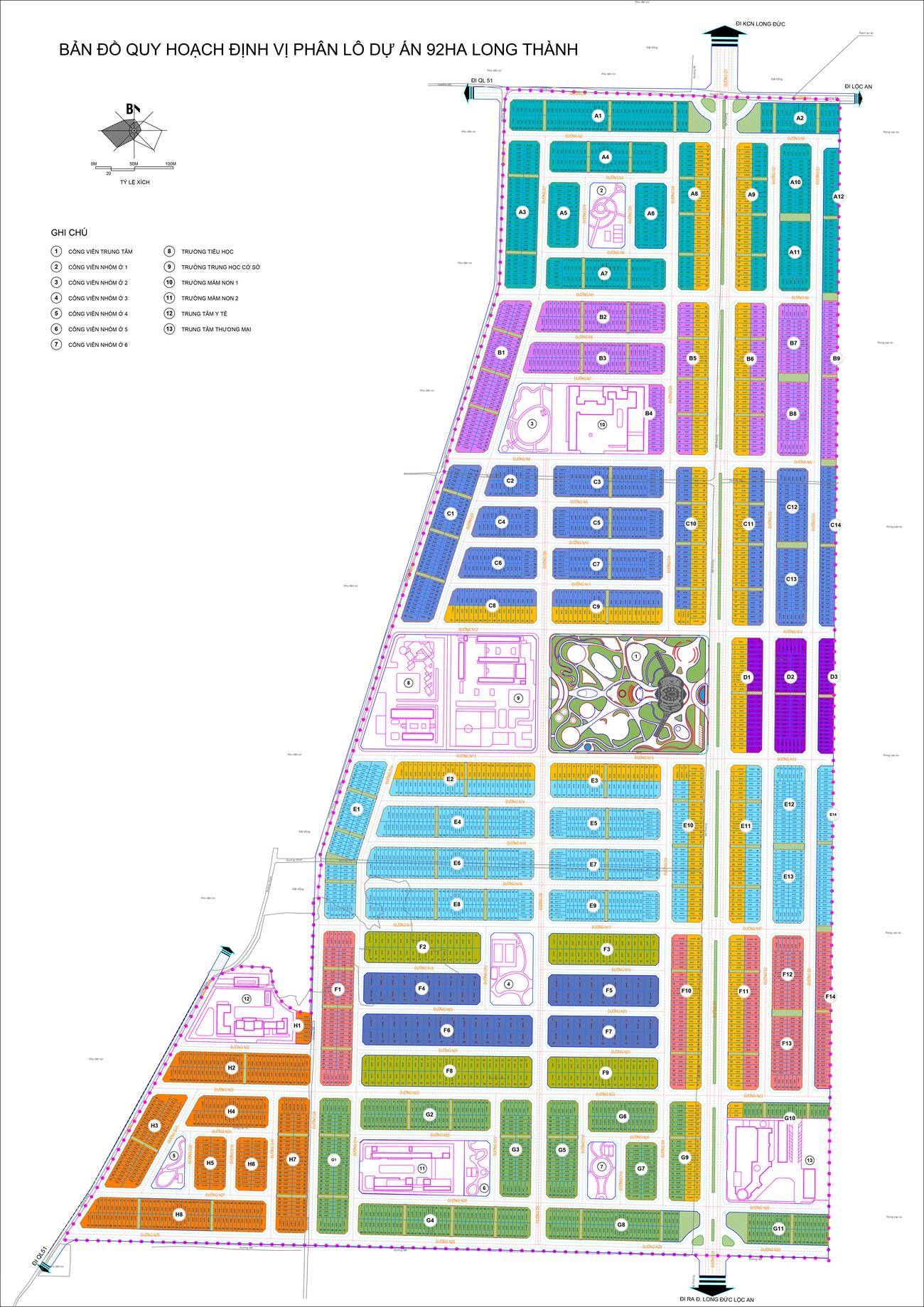 Bản đồ quy hoạch định vị phân lô dự án 92Ha Long Thành