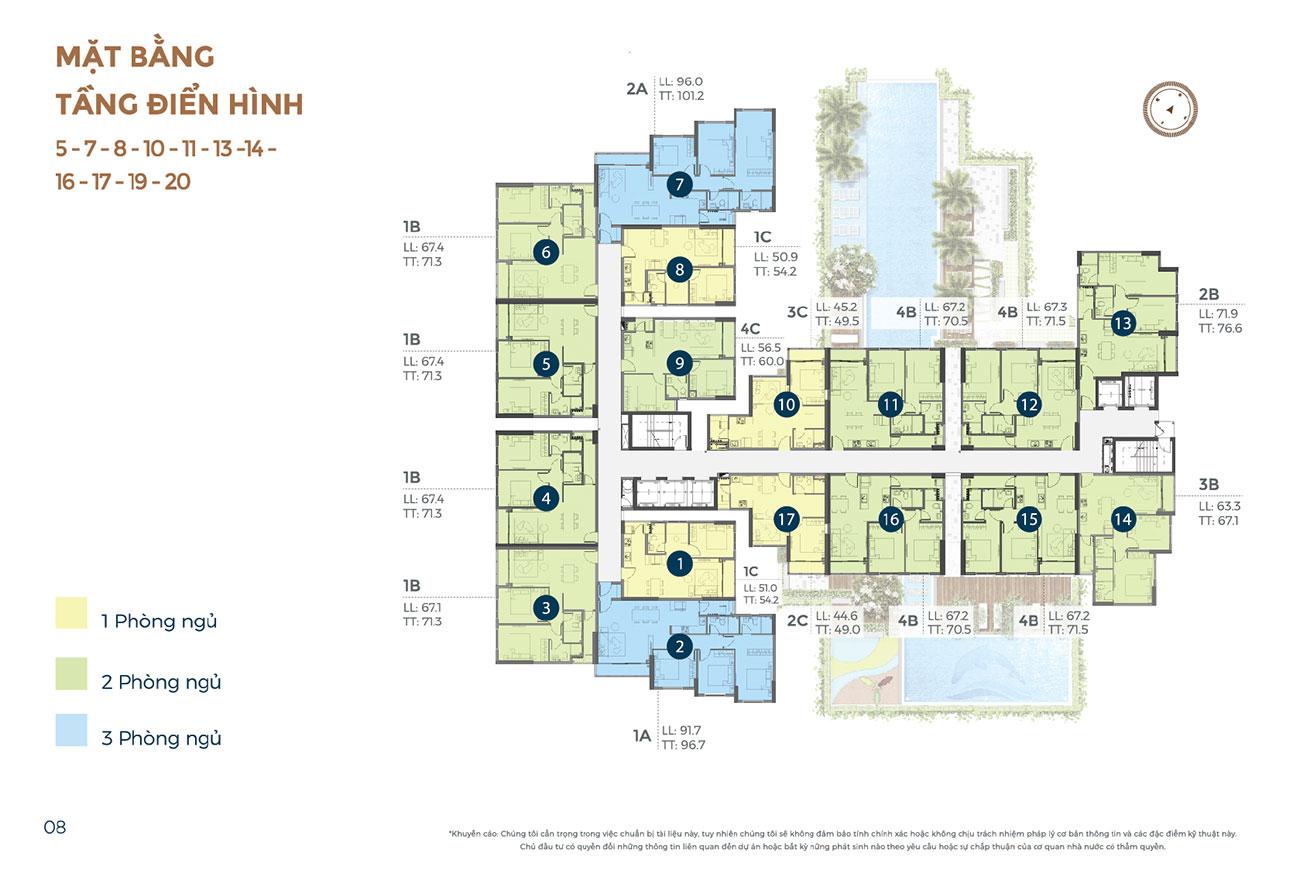 Mặt bằng dự án căn hộ chung cư Precia Quận 2 Đường Nguyễn Thị Định chủ đầu tư Minh Thông