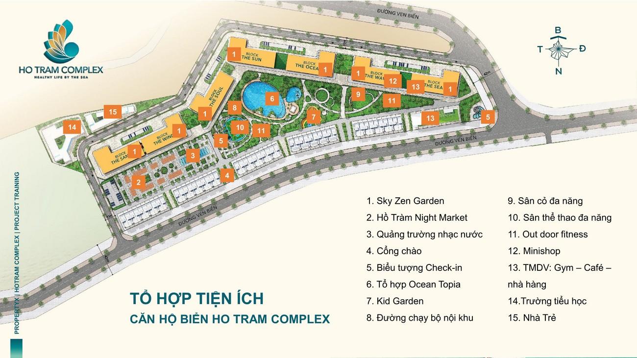 Mặt bằng tiện ích dự án căn hộ chung cư Hồ Tràm Complex Xuyên Mộc Đường Ven Biển chủ đầu tư Hưng Thịnh