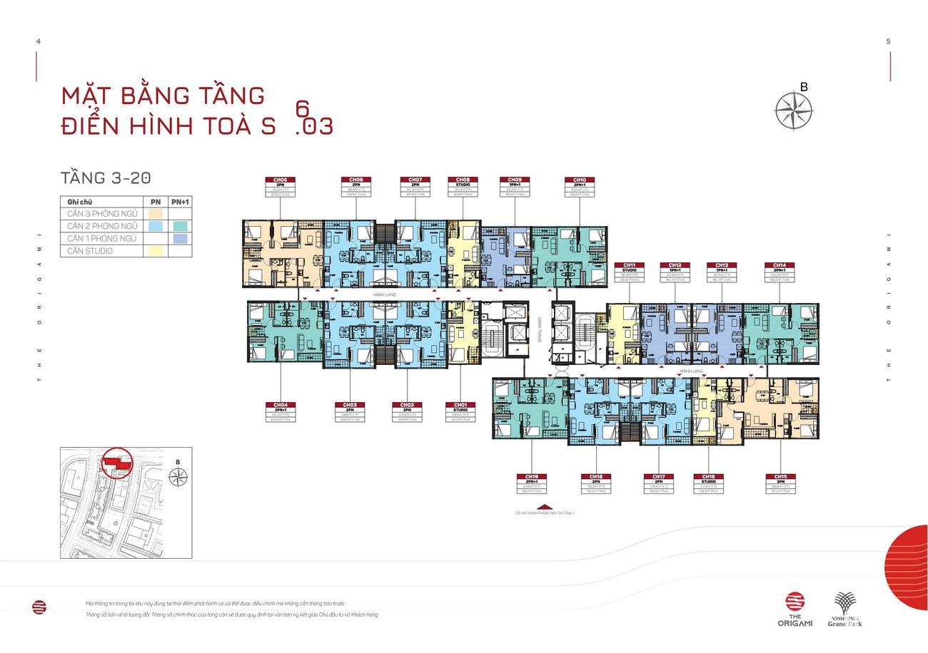 Mặt bằng tiểu khu S9.01-S9.03 dự án căn hộ chung cư The Origami Quận 9 Đường Nguyễn Xiển chủ đầu tư Vingroup