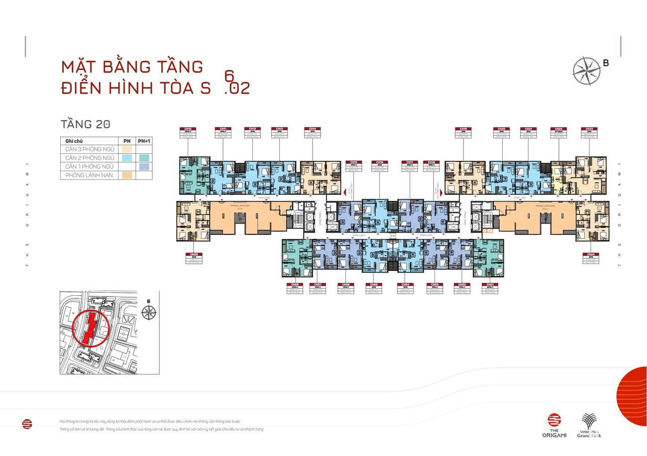 Mặt bằng tiểu khu S9.02 dự án căn hộ chung cư The Origami Quận 9 Đường Nguyễn Xiển chủ đầu tư Vingroup